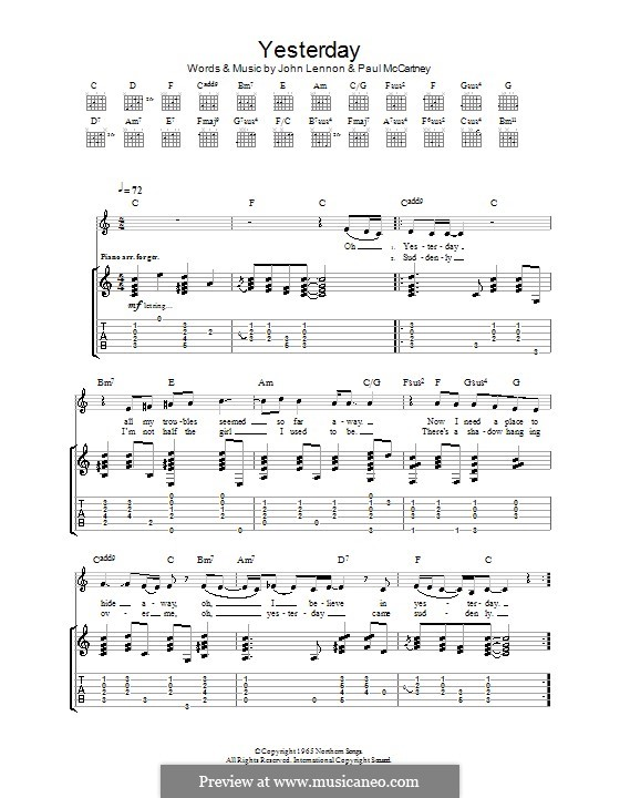 Yesterday (The Beatles): For guitar with tabulature (C Major) by John Lennon, Paul McCartney