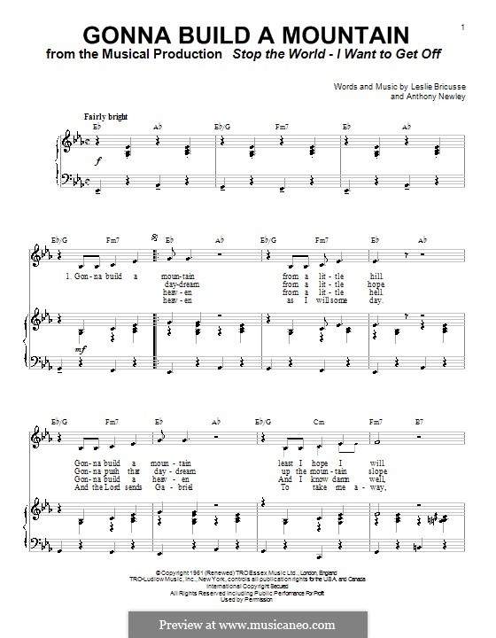 Gonna Build a Mountain: For voice and piano (or guitar) by Anthony Newley