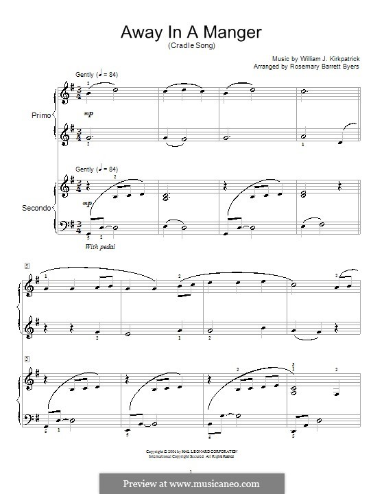 Away in a Manger: For piano four hands by William (James) Kirkpatrick