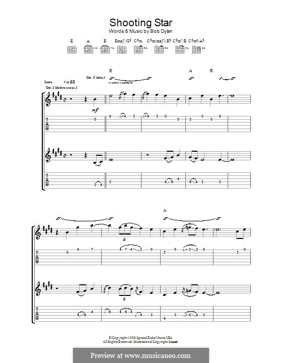 Shooting Star By B Dylan Sheet Music On Musicaneo