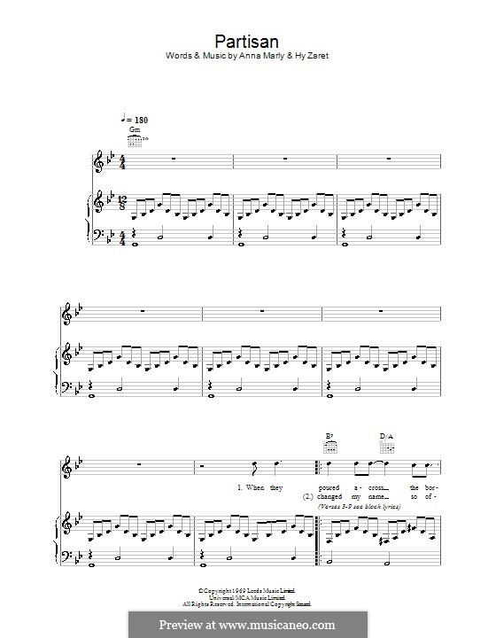 Partisan: For voice and piano (or guitar) by Anna Marly
