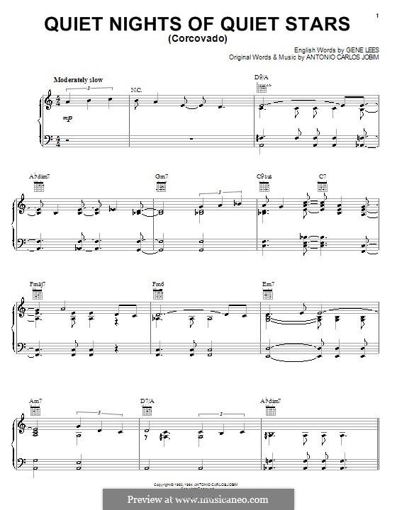 Corcovado (Quiet Nights of Quiet Stars): For voice and piano (or guitar) by Antonio Carlos Jobim