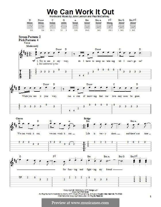 We Can Work it Out (The Beatles): For easy guitar with tabulature by John Lennon, Paul McCartney