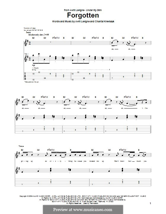 Forgotten (Avril Lavigne): For guitar with tab by Chantal Kreviazuk