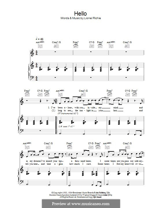 Hello: For voice and piano or guitar (A Minor) by Lionel Richie