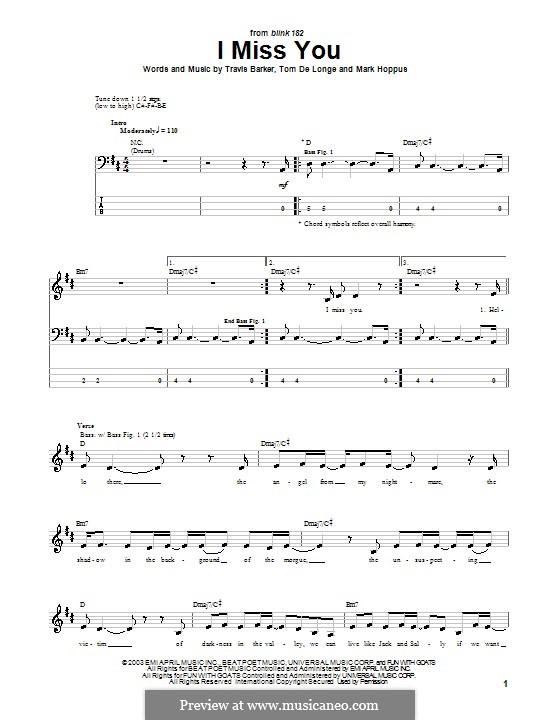 I Miss You Blink 182 By M Hoppus T Delonge T Barker On Musicaneo