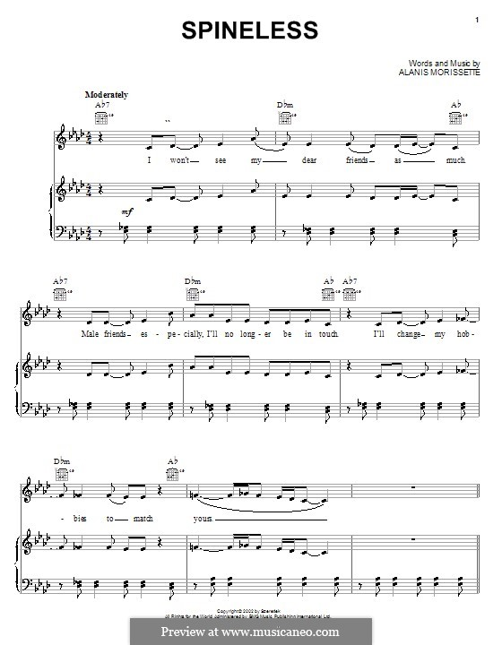Spineless: For voice and piano (or guitar) by Alanis Morissette