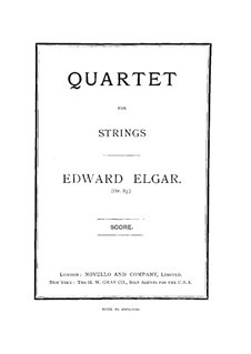 String Quartet, Op.83: Full score by Edward Elgar