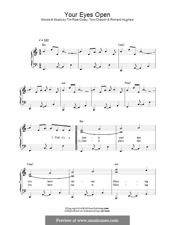 Your Eyes Open (Keane): For easy piano by Richard Hughes, Tim Rice-Oxley, Tom Chaplin