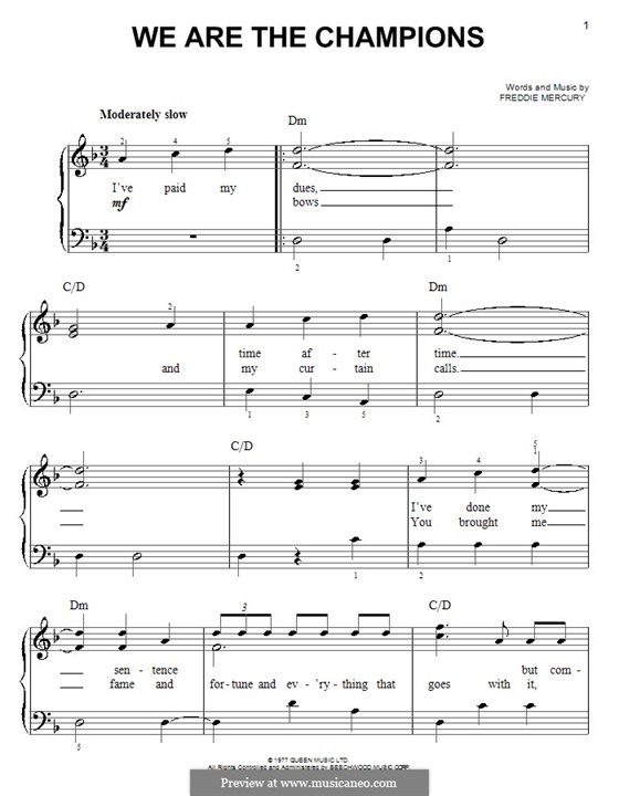 We are the Champions (Queen): For easy piano by Freddie Mercury