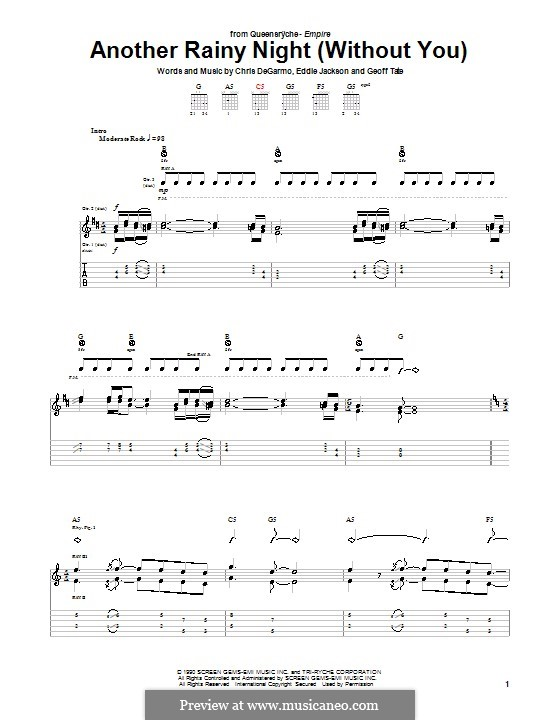 Another Rainy Night (without You): For guitar with tab (Queensryche) by Chris DeGarmo, Eddie Jackson, Geoff Tate