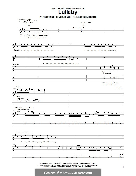 Lullaby (A Perfect Circle): For guitar with tab by Billy Howerdel, Maynard James Keenan