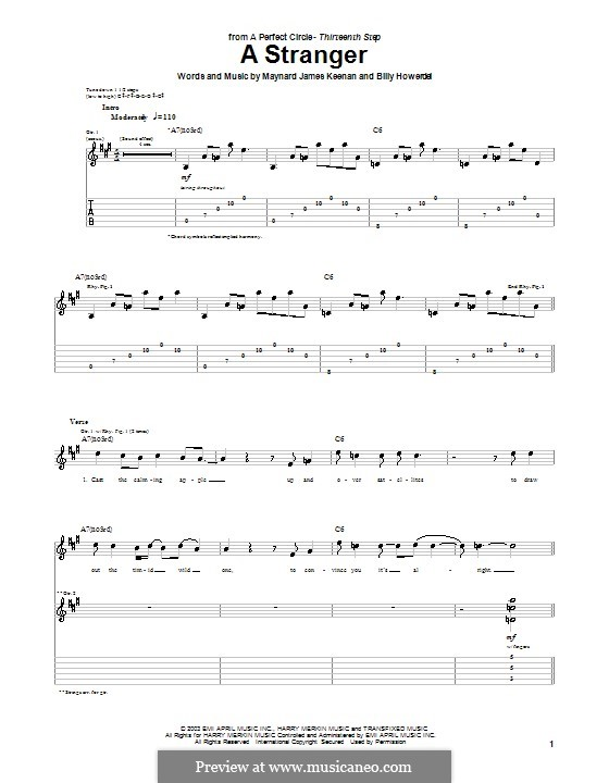 A Stranger (A Perfect Circle): For guitar with tab by Billy Howerdel, Maynard James Keenan
