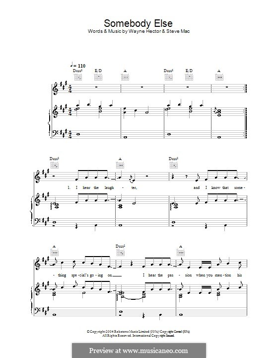 Somebody Else (Ronan Keating): For voice and piano (or guitar) by Steve Mac, Wayne Anthony Hector