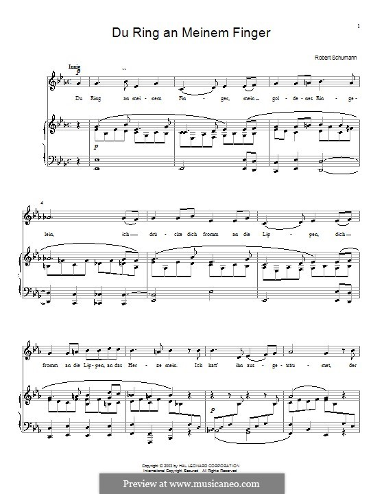 Woman's Love and Life, Op.42: No.4 Thou Ring upon My Finger by Robert Schumann