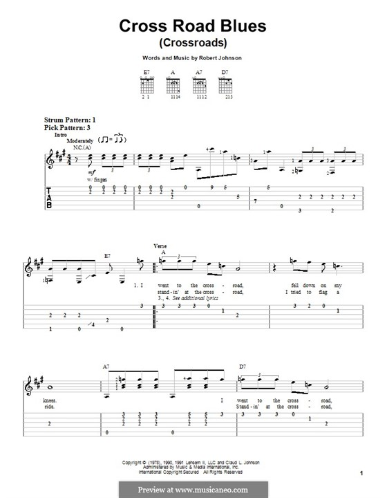 Cross Road Blues (Crossroads): For easy guitar with tablature by Robert Leroy Johnson