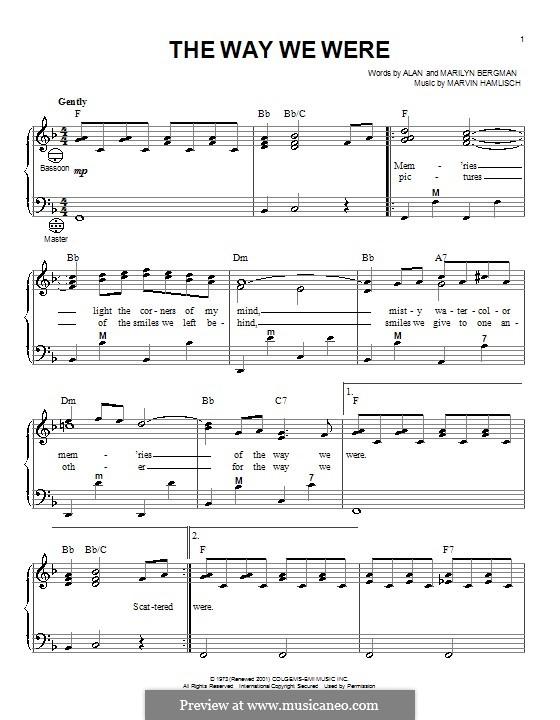 The Way We Were (Barbra Streisand): For accordion by Marvin Hamlisch