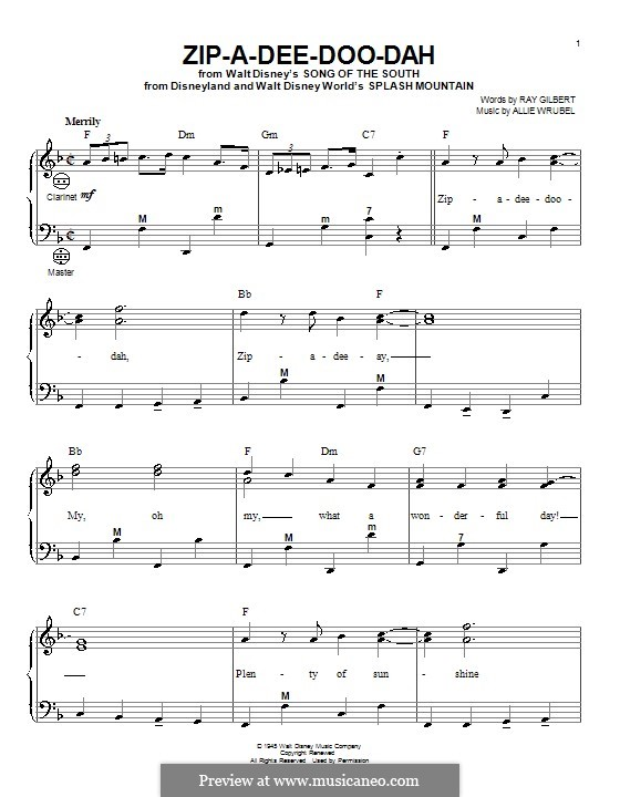 Zip A Dee Doo Dah By A Wrubel Sheet Music On Musicaneo
