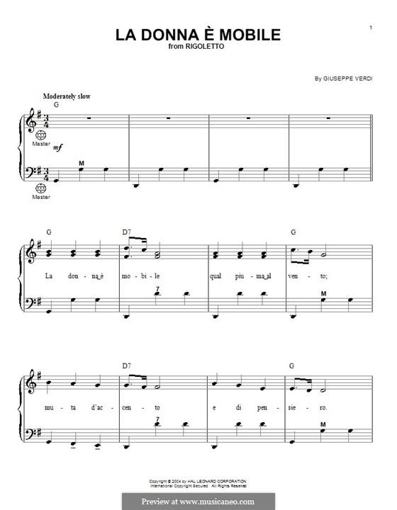 La donna è mobile (Over the Summer Sea): For accordion by Giuseppe Verdi