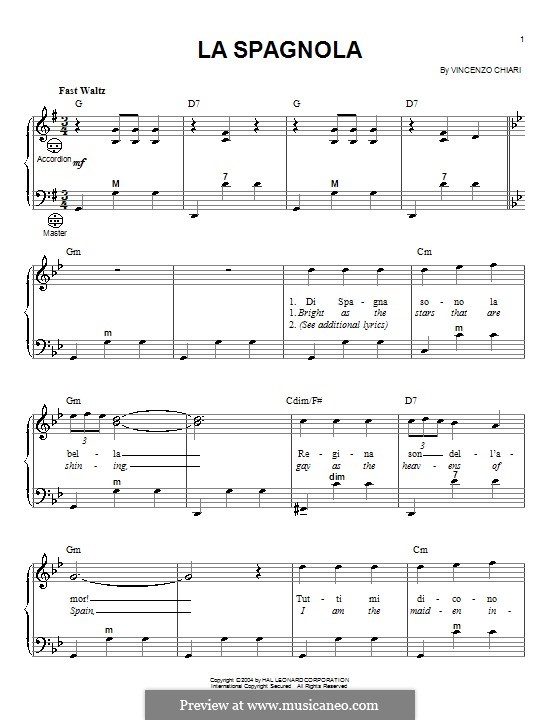 La spagnola (The Spanish Dancer): For accordion by Vincenzo di Chiara