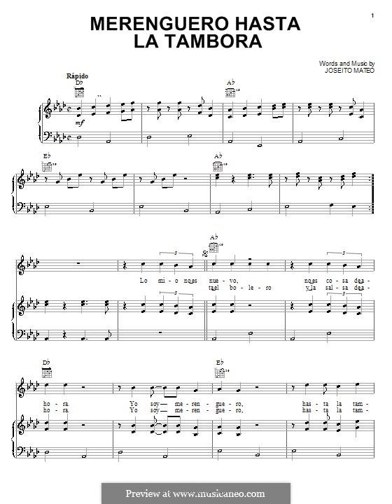 Merenguero Hasta la Tambora: For voice and piano (or guitar) by Joseito Mateo