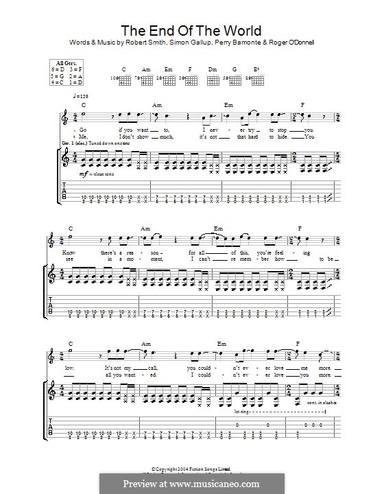 The End of the World (The Cure): For guitar with tab by Perry Bamonte, Robert Gary Smith, Roger O'Donnell, Simon Gallup