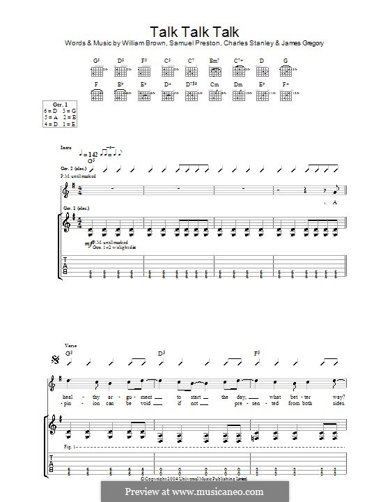 Talk Talk Talk (The Ordinary Boys): For guitar with tab by Charles Stanley, James Gregory, Samuel Preston, William Brown