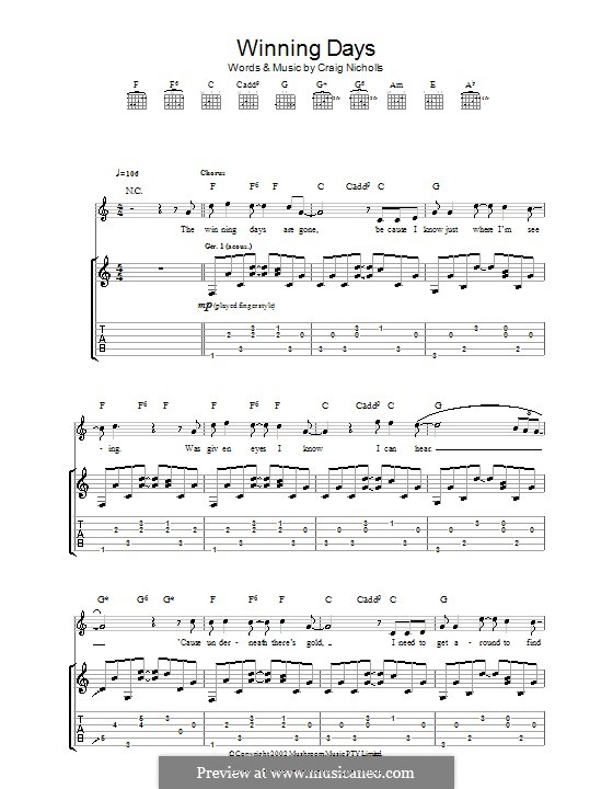 Winning Days (The Vines): For guitar with tab by Craig Nicholls