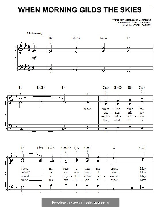 When Morning Gilds the Skies: For easy piano by Joseph Barnby