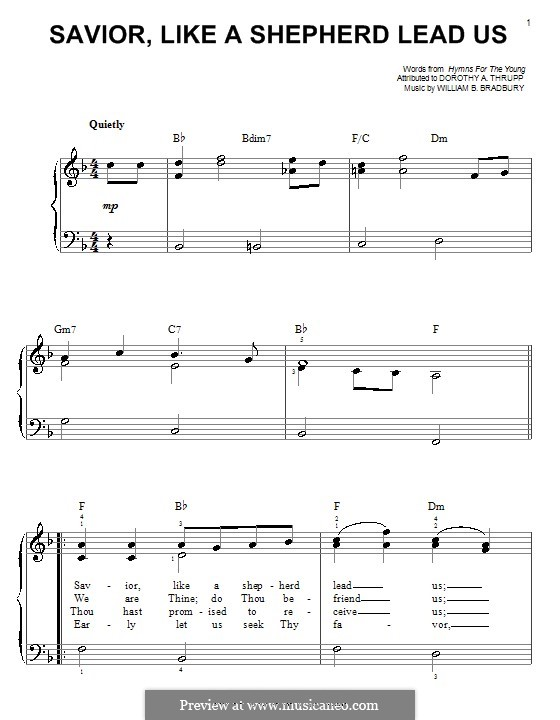 Savior, Like a Shepherd Lead Us: For piano by William Batchelder Bradbury