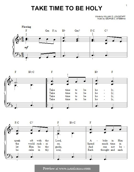Take Time to be Holy: For piano by George C. Stebbins