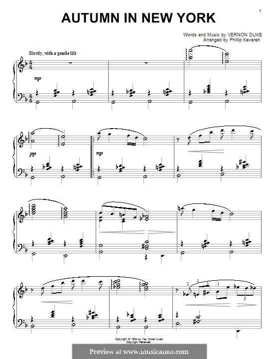 Autumn in New York: For piano by Vernon Duke