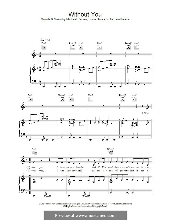 Without You: For voice and piano (or guitar) by Graham Kearns, Mike Peden