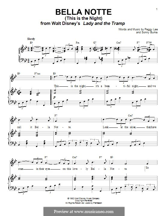Bella Notte (This is the Night): For voice and piano (or guitar) by Peggy Lee, Sonny Burke