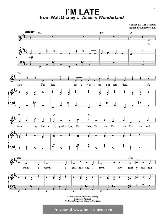 I'm Late: For voice and piano (or guitar) by Sammy Fain