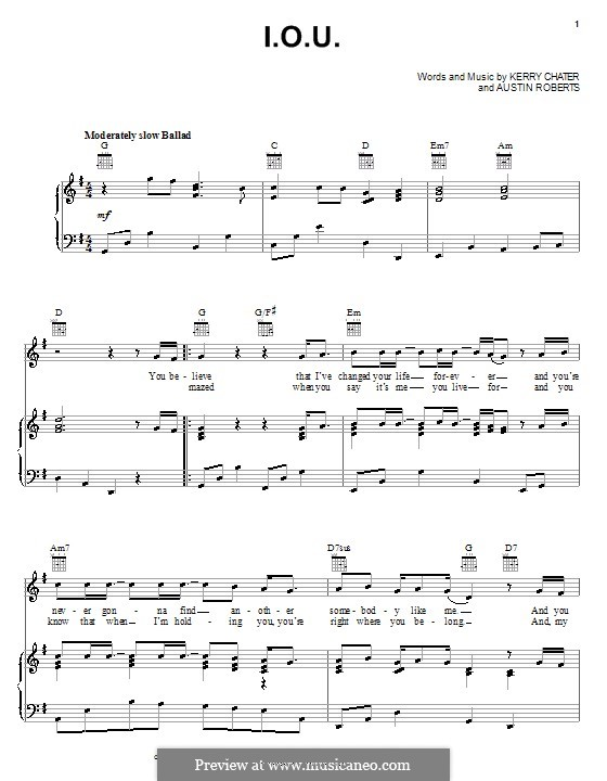 I.O.U. (Lee Greenwood): For voice and piano (or guitar) by Austin Roberts, Kerry Chater