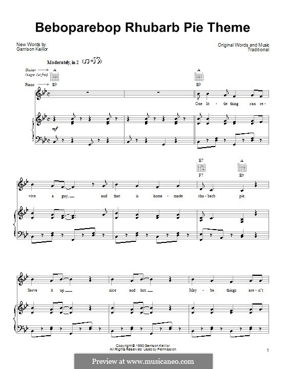 Beboparebop Rhubarb Pie Theme: For voice and piano (or guitar) by Garrison Keillor