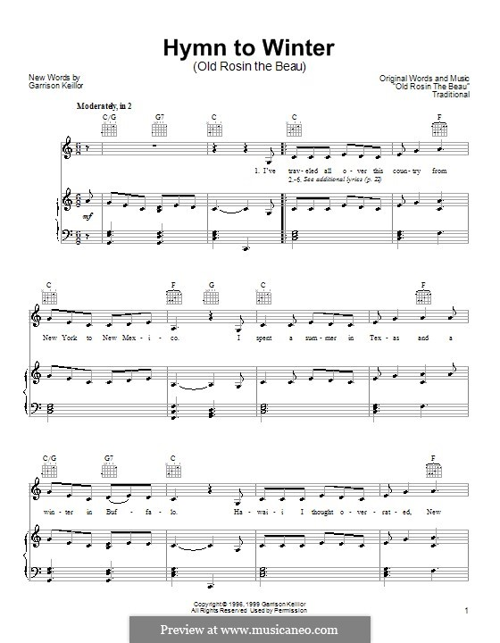Hymn to Winter: For voice and piano (or guitar) by Garrison Keillor