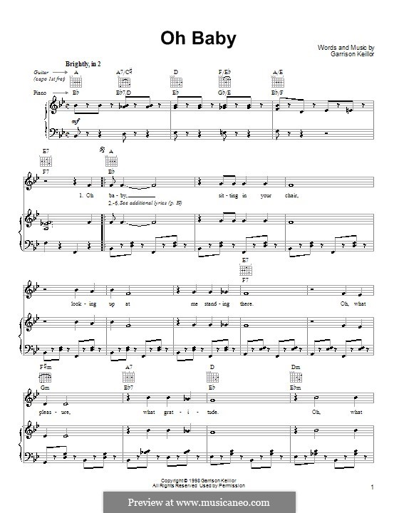 Oh Baby: For voice and piano (or guitar) by Garrison Keillor