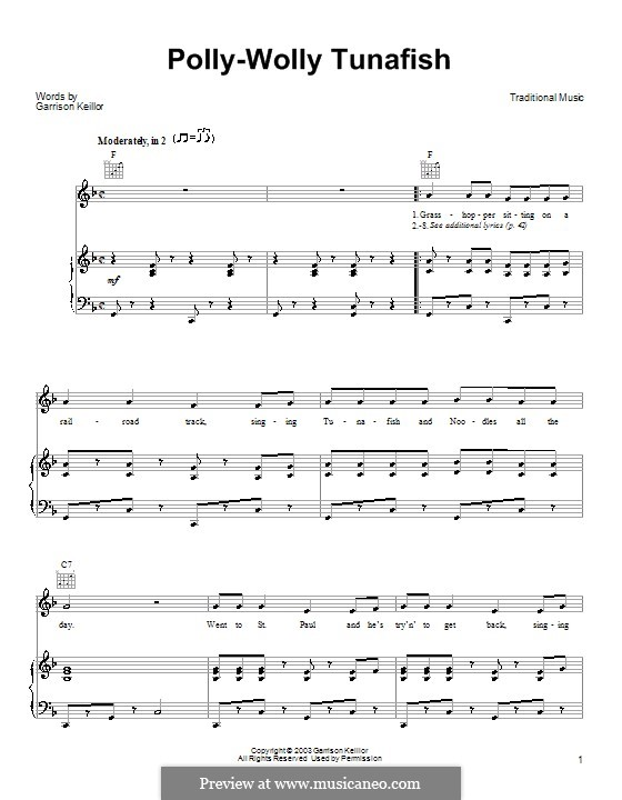 Polly-Wolly Tunafish: For voice and piano (or guitar) by Garrison Keillor