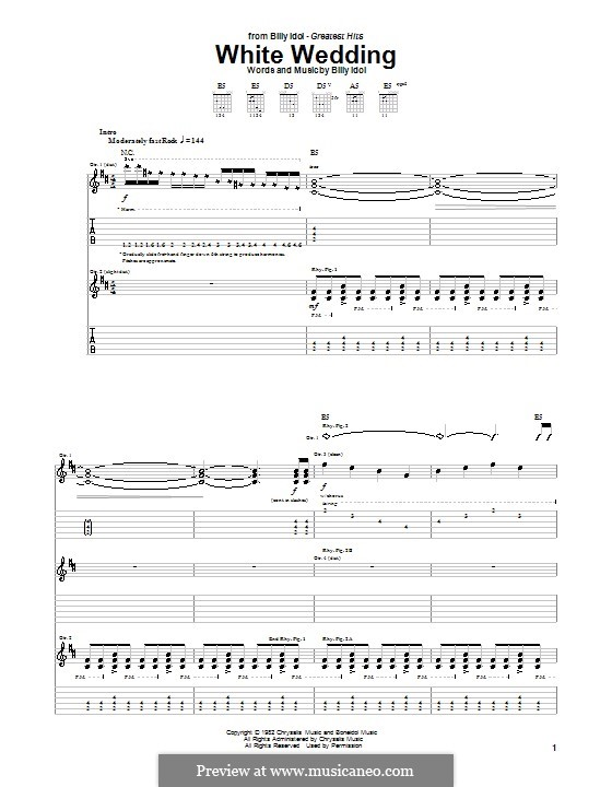 White Wedding For Guitar With Tab By Billy Idol