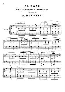 Two Romances: Arrangement for piano by Michail Wielhorski