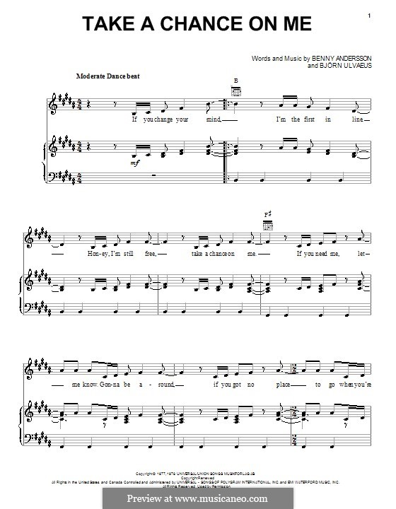 Take a Chance on Me (ABBA): For voice and piano (or guitar) by Benny Andersson, Björn Ulvaeus