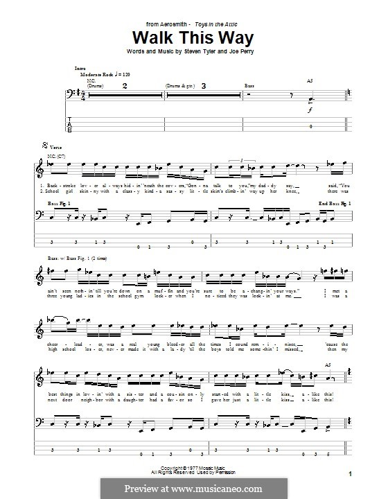 Walk This Way (Aerosmith and Run D.M.C.): For bass guitar with tab by Joe Perry, Steven Tyler