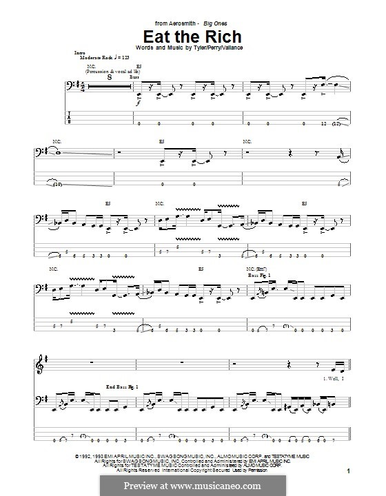 Eat the Rich (Aerosmith): For bass guitar with tab by Jim Vallance, Joe Perry, Steven Tyler