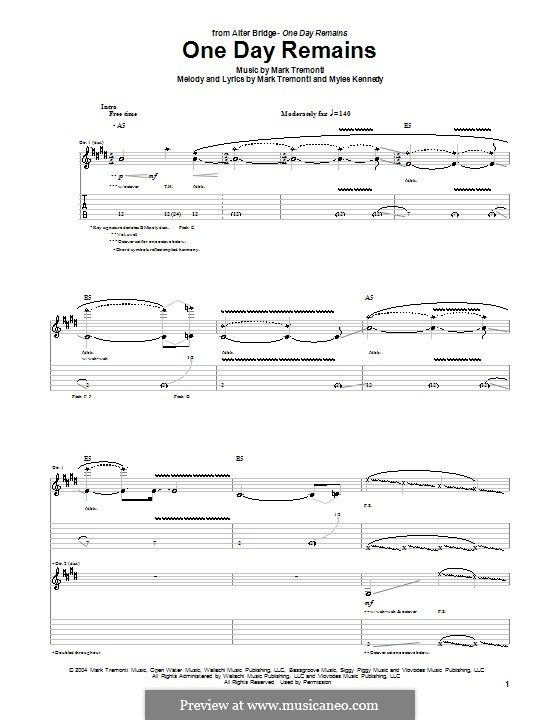 One Day Remains (Alter Bridge): For guitar with tab by Mark Tremonti, Myles Kennedy
