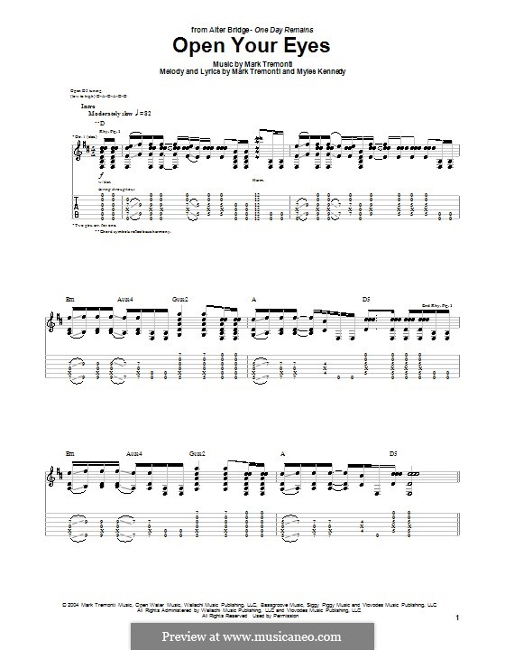 Open Your Eyes (Alter Bridge): For guitar with tab by Mark Tremonti, Myles Kennedy