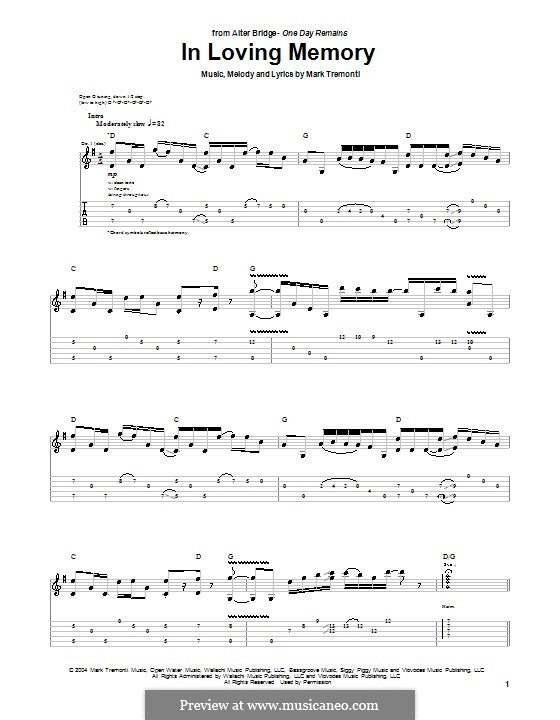 in loving memory (alter bridge)m. tremonti - sheet music on, Powerpoint templates