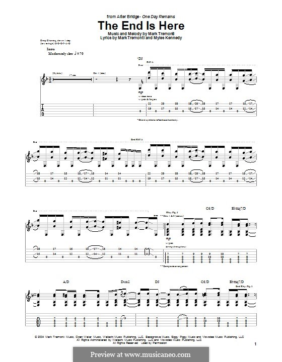 The End Is Here (Alter Bridge): For guitar with tab by Mark Tremonti, Myles Kennedy