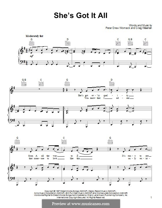 She's Got It All (Kenny Chesney): For voice and piano (or guitar) by Craig Wiseman, Peter Drew Womack